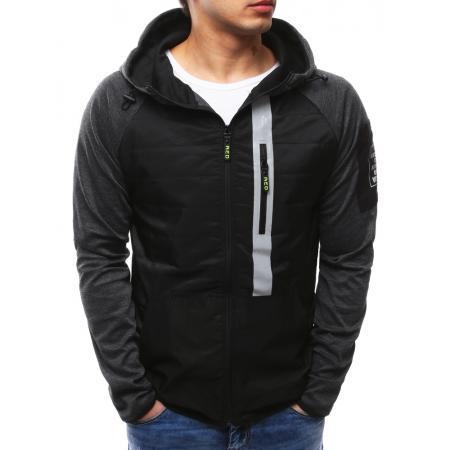 Pánska moderná bunda s kapucňou čierna