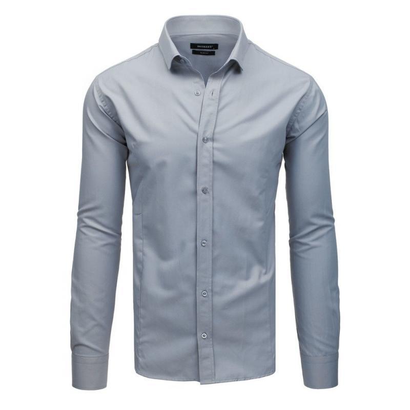 9a565651ffc8 Pánska elegantná košeľa s dlhým rukávom sivá