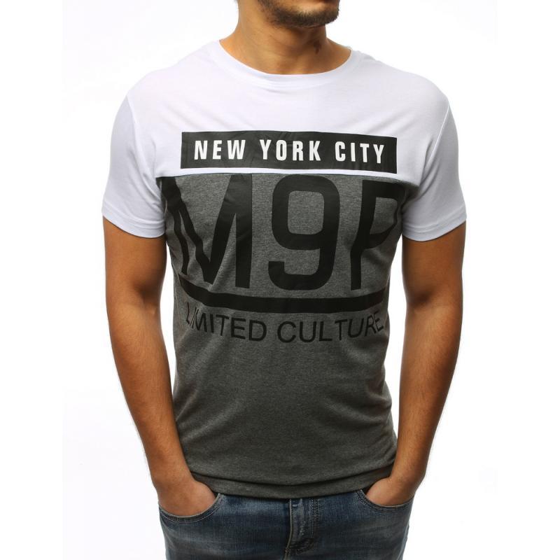 66e464f04 Pánske ELEGANT tričko s potlačou bielo-šedé | manSTYLE.sk