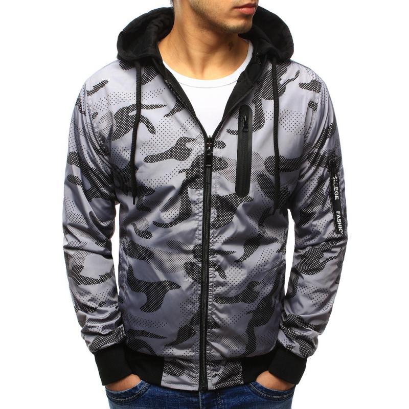 84f206c5ac03 Pánska štýlová bunda obojstranná maskáčový vzor s kapucňou šedá ...