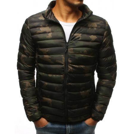 Pánska zimná prešívaná bunda, lesné camo