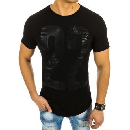 234c063e2719 Pánská čierne tričko s potlačou a okrúhlym výstrihom