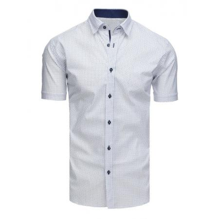 4c56fe1e0ead Elegantná pánska košeľa so vzorom s krátkym rukávom biela