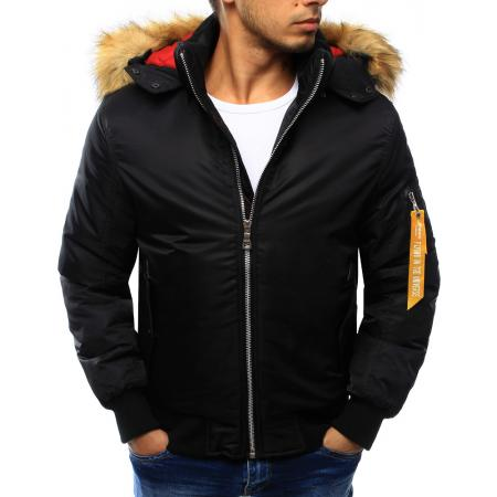 Pánska bunda zimná s kapucňou čierna