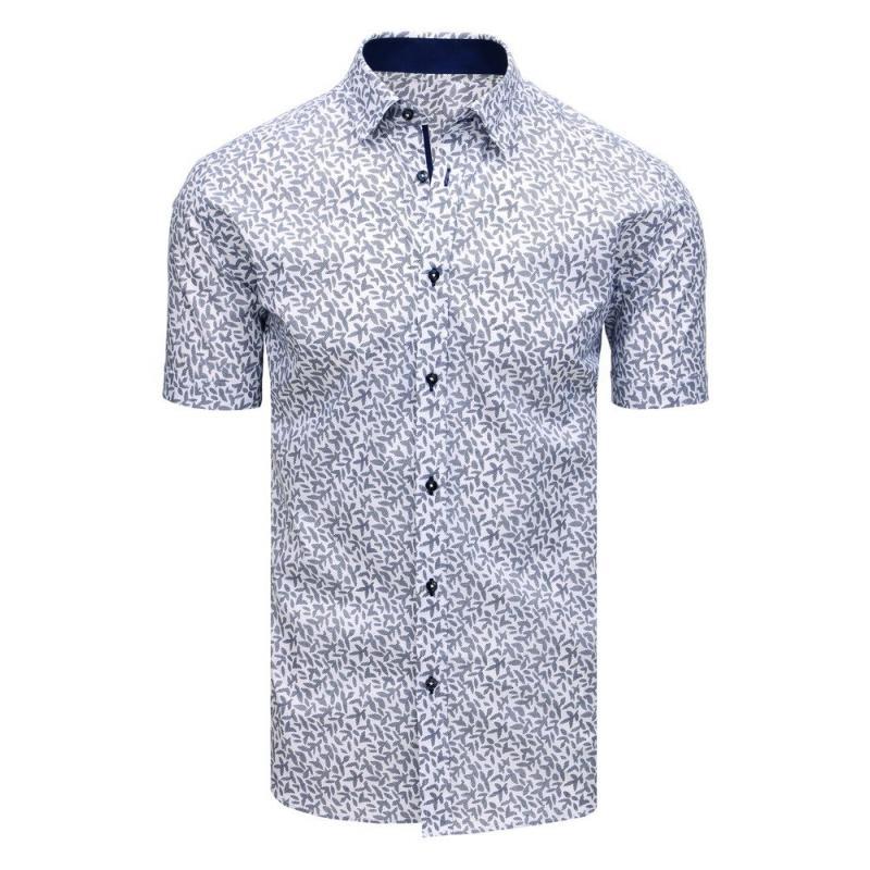 b759fbda66 Elegantná pánska košeľa so vzorom s krátkym rukávom biela