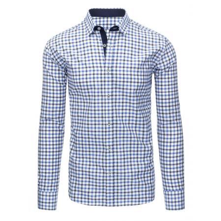 187185eddd75 Bílá pánská košile mřížkovaný vzor s dlouhým rukávem slim fit