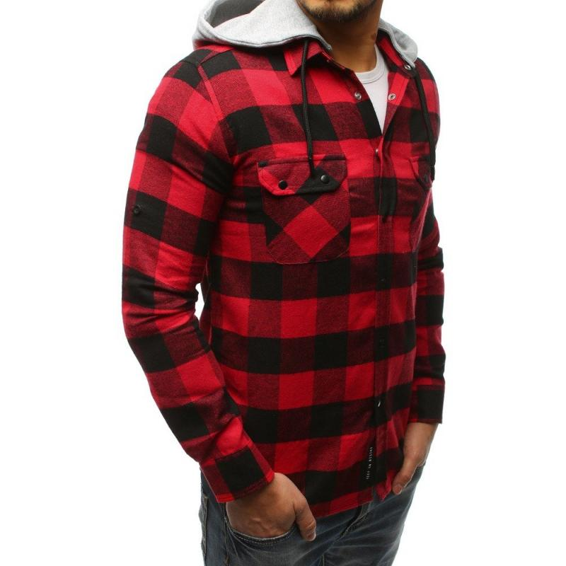 aee8ff370ae0 Pánska STYLE košeľa pruhovaná čierno-červená