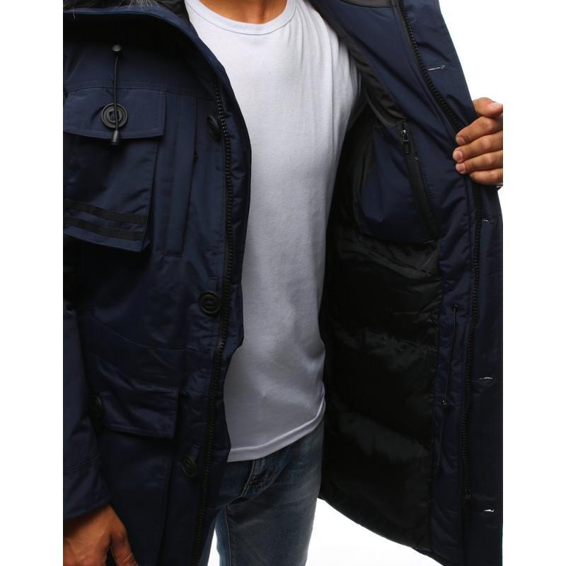 Pánska zimná bunda tmavo modrá  7a0e0b034f3