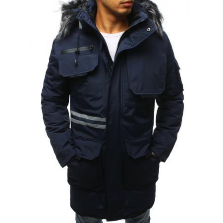 Pánska zimná parka bunda modrá