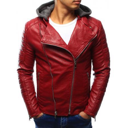 Pánska kožená bunda červená