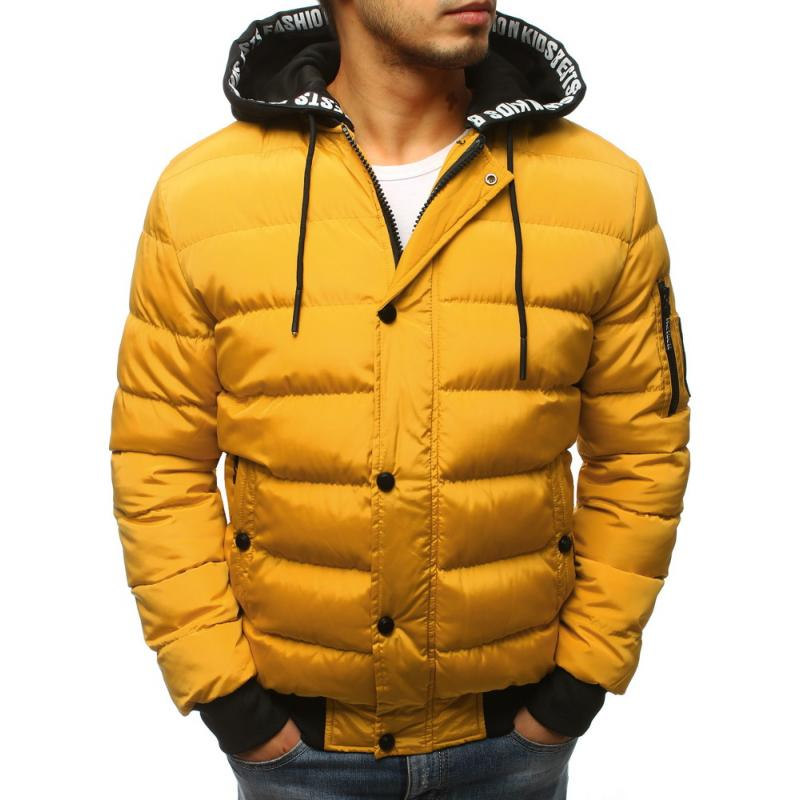 Pánska zimná bunda prešívaná žltá  72c7df92d27