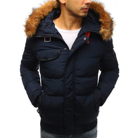 Pánska zimná bunda prešívaná tmavo modrá a58bb74145