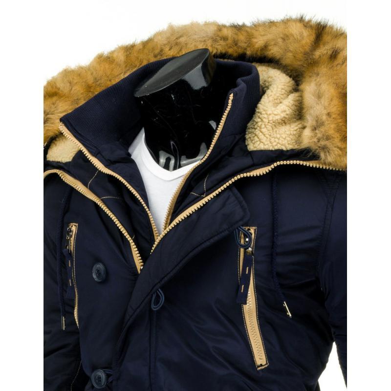 Pánska stylová zimné bunda (parka) modrá  6ec777ccadc
