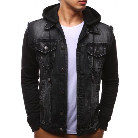 Džínsová pánska bunda čierna