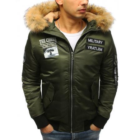 Pánska zimná bunda bomber jacket zelená