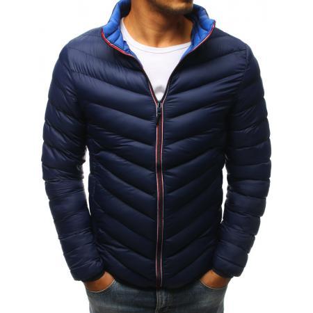 Pánska zimná prešívaná bunda tmavo modrá