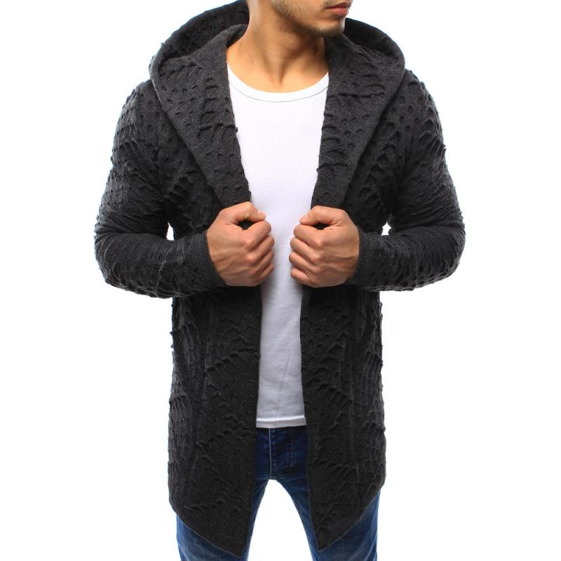 f77ef754ad74 Pánsky sveter kardigan s kapucňou antracitový