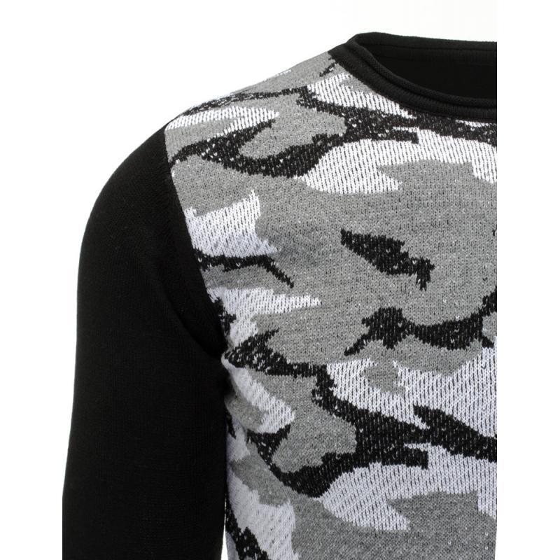18507dfbeda7 Pohodlný pánsky sveter vo farbe čierno šedej