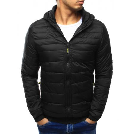 Pánska bunda prešívaná s kapucňou čierna