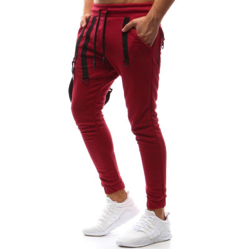 Pánské nohavice joggery tepláky červené  461b3a912d