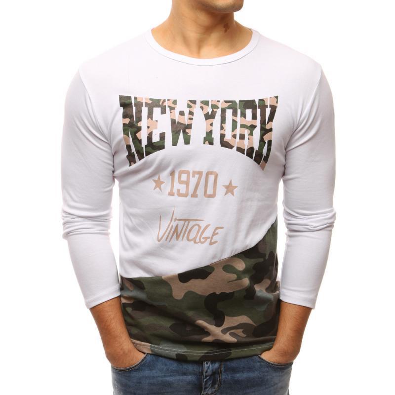 c587b49c3d5f Pánske biele tričko s dlhým rukávom a potlačou
