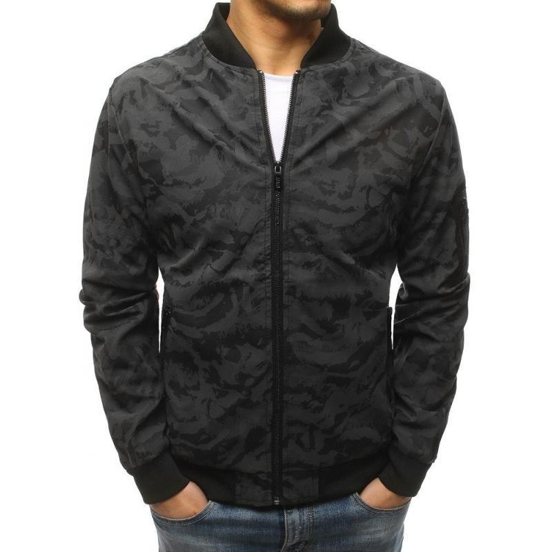 Pánska NEWSTYLE bunda bomber jacket maskáčová čierno-šedá  5e6c91984b7
