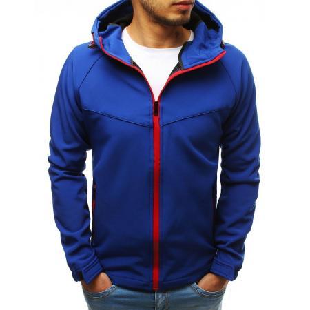Pánska SPRING bunda softshell s kapucňou modrá