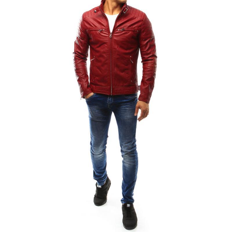 Pánska bunda kožená červená  4b6a5dda404