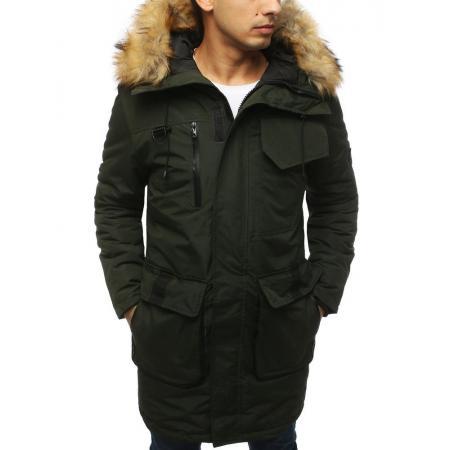 Pánska bunda zimná zelená