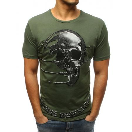 bf3ece148156 Pánske štýlové tričko s lebkou tmavo zelený