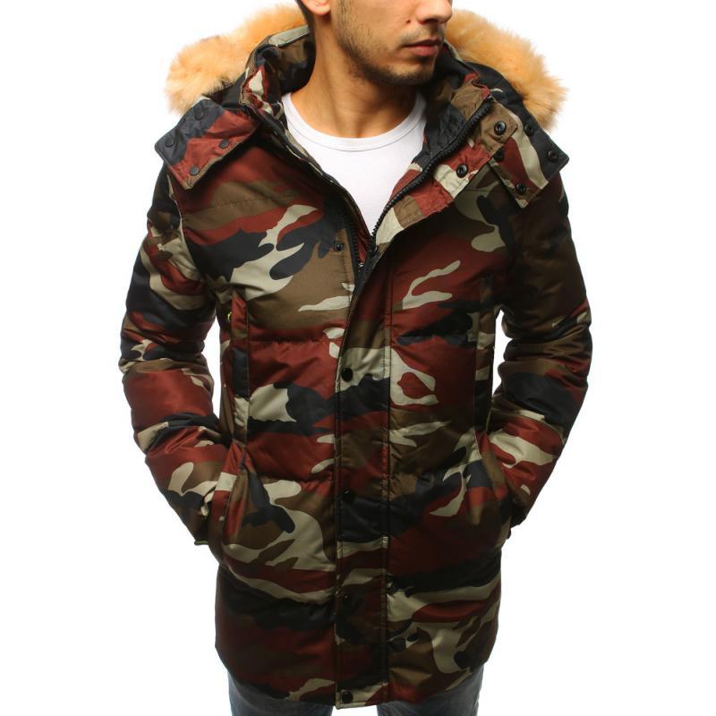 a14742639 Pánska zimná bunda s kapucňou woodland maskáčová | manSTYLE.sk