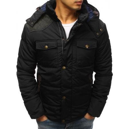Pánska bunda zimná prešívaná tmavo modrá