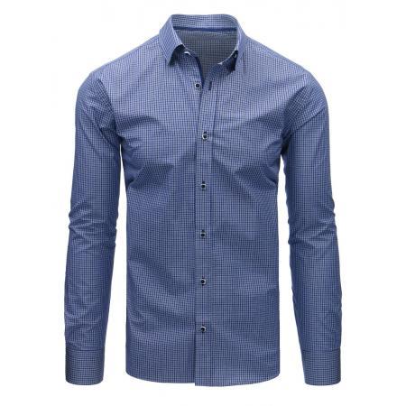 7e1f79feae Modrá pánska košeľa kockovaná s dlhým rukávom