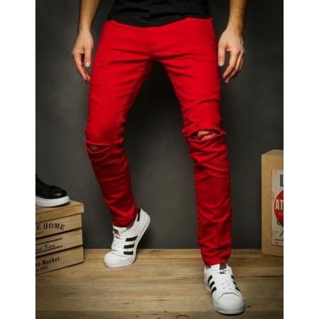 Pánske jeansy červené UX2343