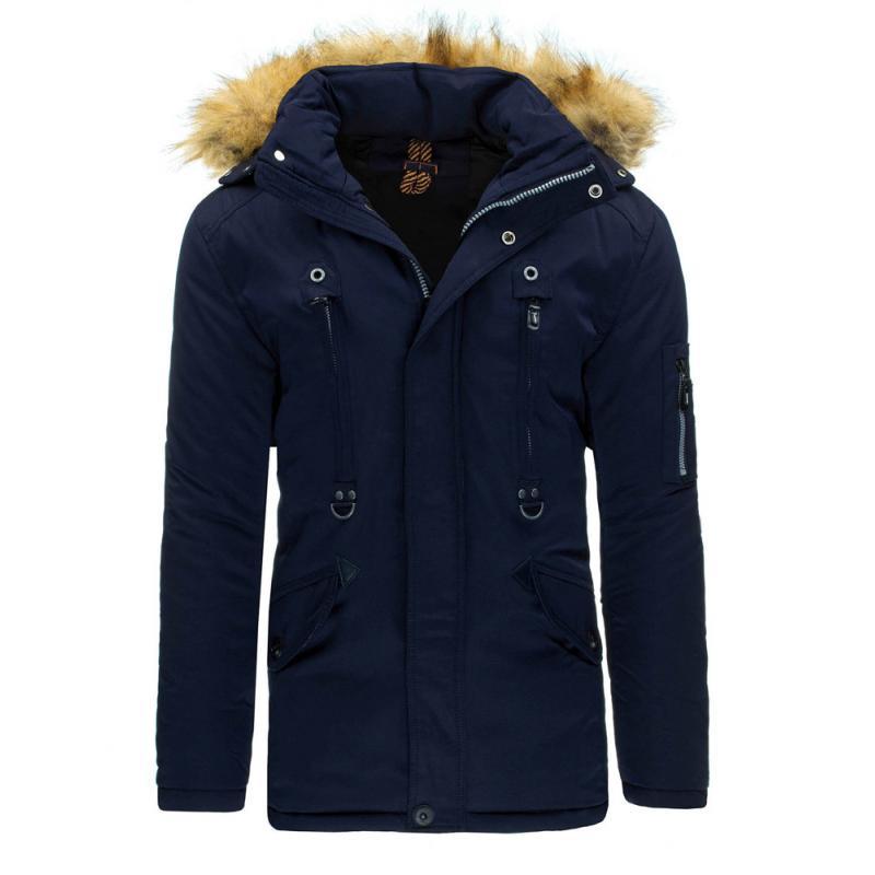 Pánska štýlová zimná bunda (parka) modrá  eca89f707ee