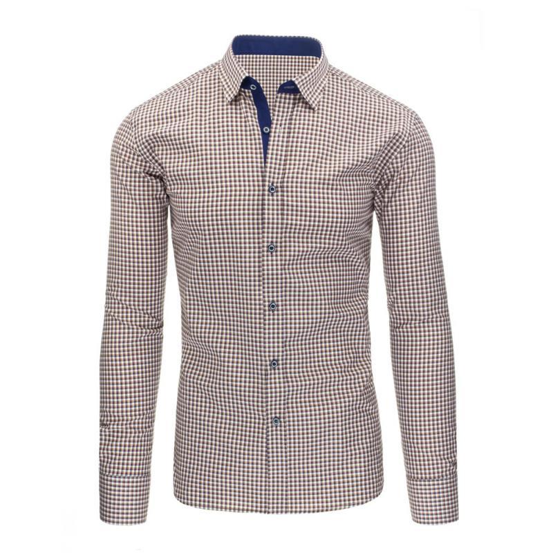 43a621d15499 Pánska štýlová košeľa hnedá s dlhým rukávemslim fit