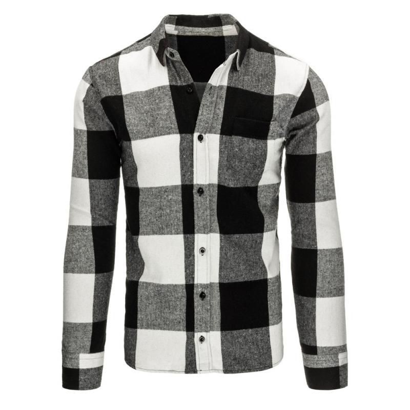 986e2a234d03 Biela pánska košeľa flanelová kockovaná