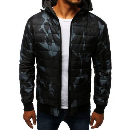 Pánska SPRING bunda prešívaná bomber jacket moro maskáčová čierna