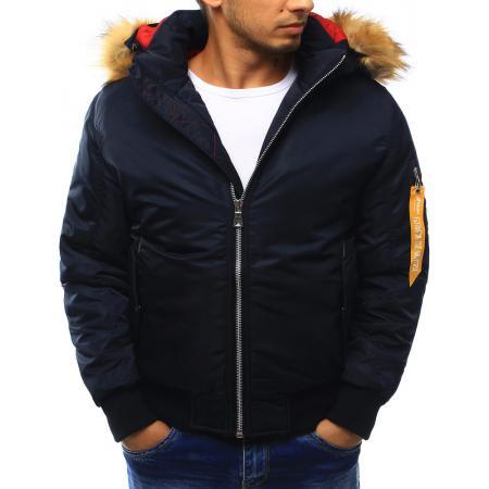 Pánska bunda zimná s kapucňou tmavo modrá