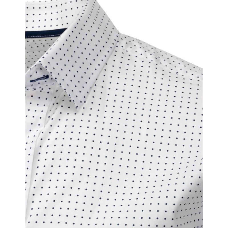 6e731e39b6ec Panská košele elegantný bodkovaný s krátkym rukávom biela