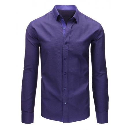 fbc5da5add4c Fialová pánska košeľa s vzorom a dlhým rukávom