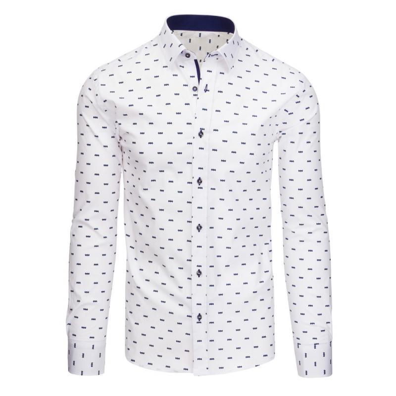 420d50de3 Biela pánska košeľa vzorovaná s dlhým rukávom | manSTYLE.sk