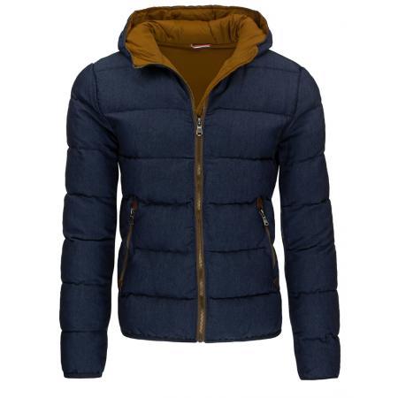 Pánska moderné zimné prešívaná bunda modrá