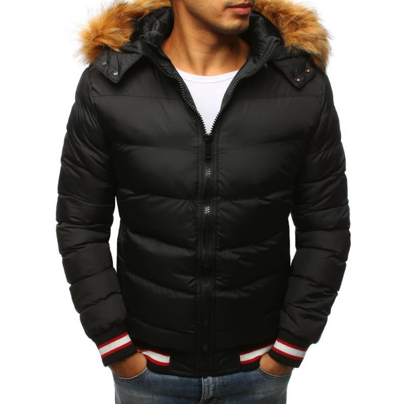 e1ad7d4f3d25 Pánska prešívaná zimná bunda čierna