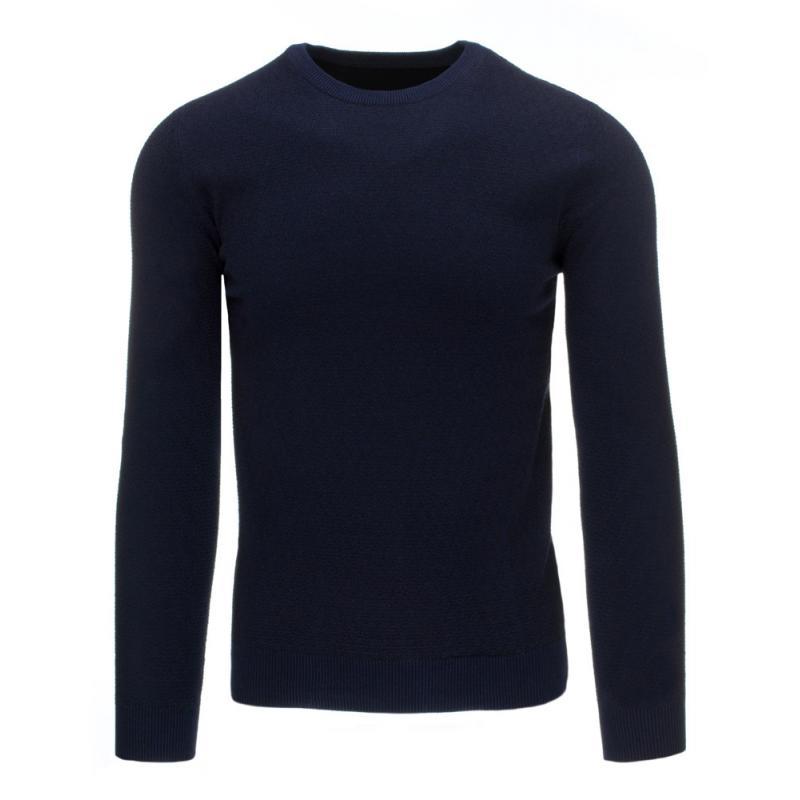 6b2651ef286e Pohodlný pánsky sveter vo farbe modrej