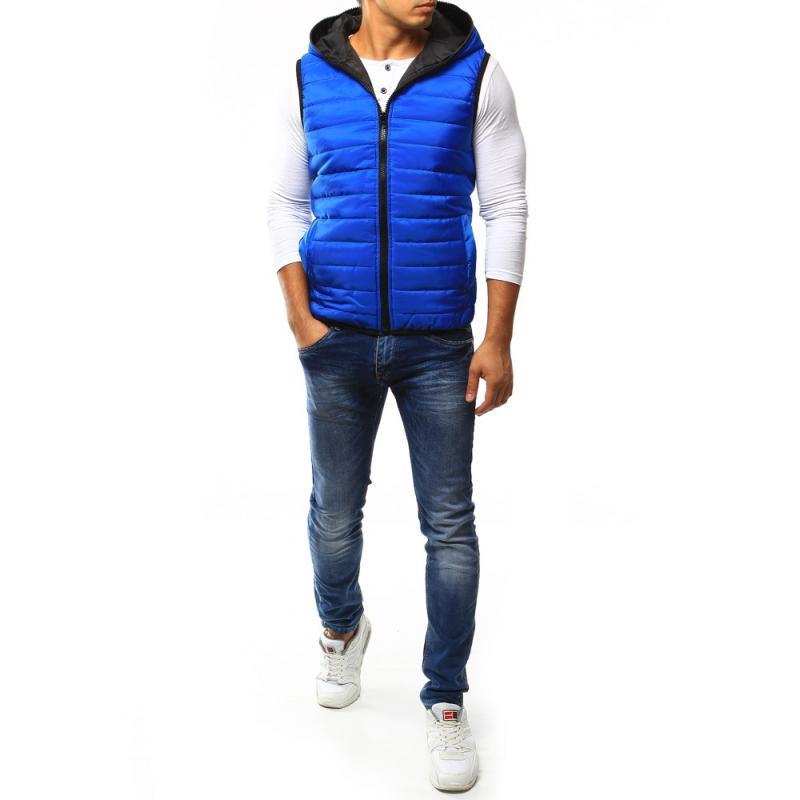 Pánska vesta prešívaná s kapucňou modrá  c1c65c9ce00